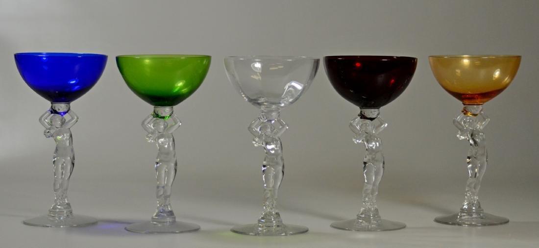 Set of 11 Cambridge nude stem glassware