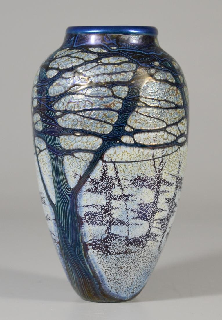 "Richard Satava 7"" signed art glass vase,"