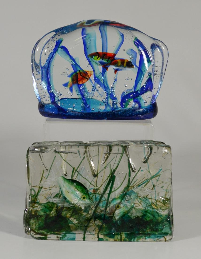 2 Murano glass aquarium fish paperweights, unsigned,