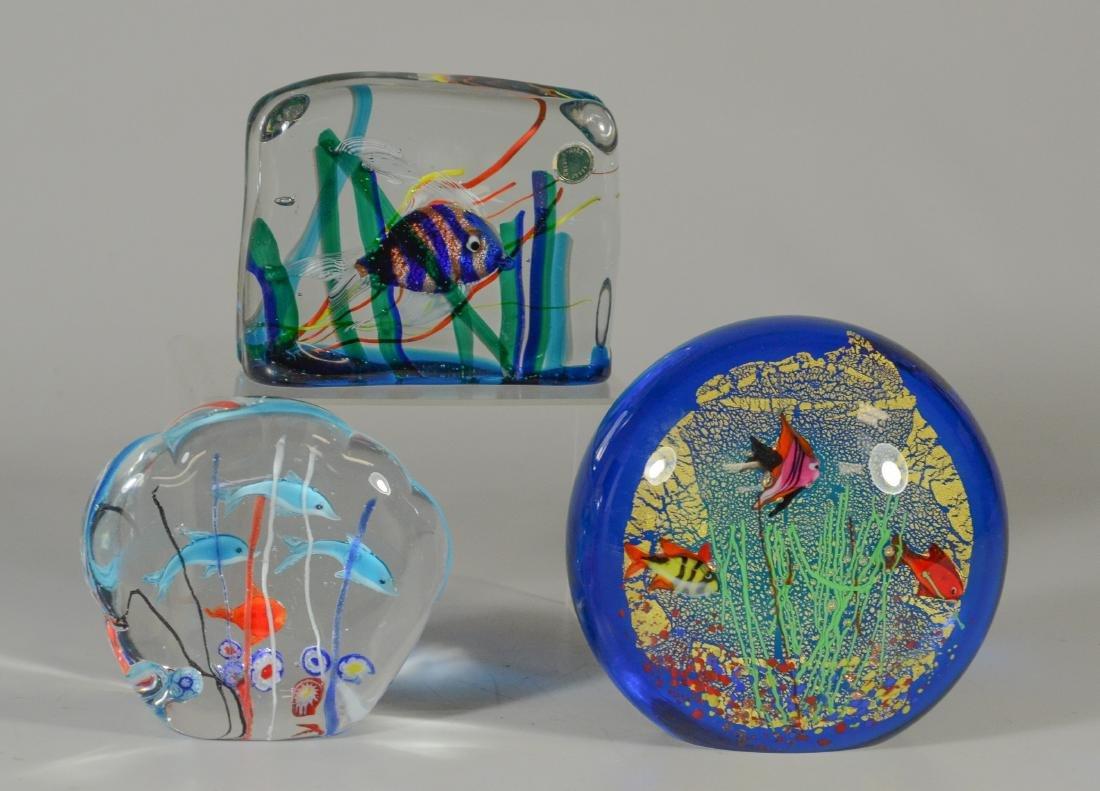 3 Murano glass aquarium fish paperweights