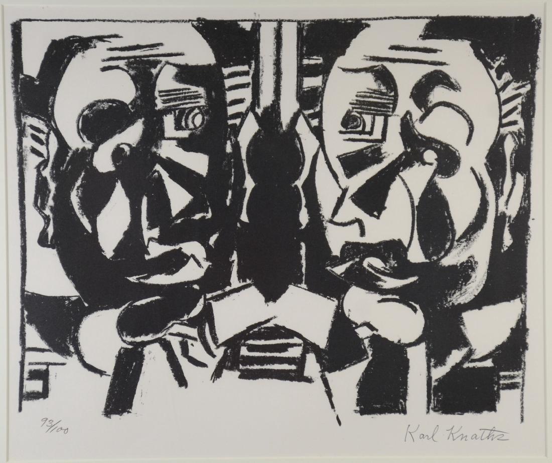 Karl Knaths A, signed lithograph, Double self portrait