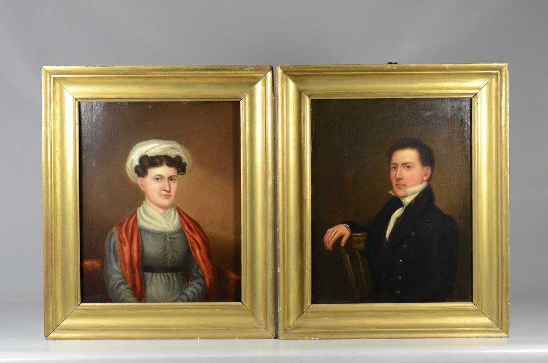 Pair of 19th C paintings of a gentleman and a lady