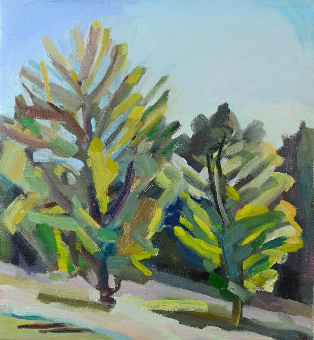 "Martha Armstrong, Landscape painting, ""Two Trees"""