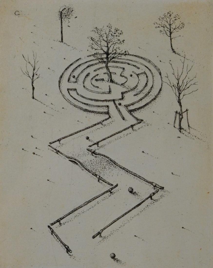 """Mitsuo Shiraishi """"Labyrinth"""" etching on paper"""