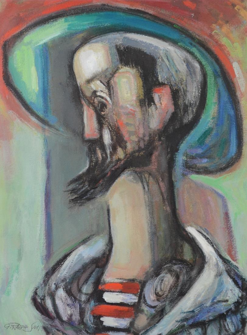"G Ralph Smith, mixed media painting, ""Gondolier"""
