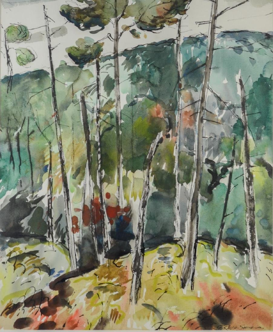 "G Ralph Smith, watercolor landscape painting, ""Woods"""