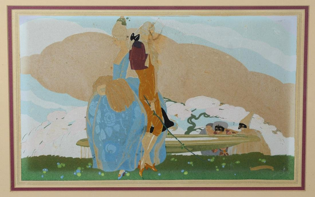 Umberto Brunelleschi, gouache illustration of couple