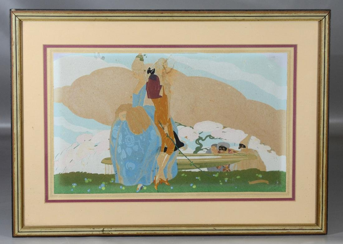 Umberto Brunelleschi, gouache illustration of couple - 2