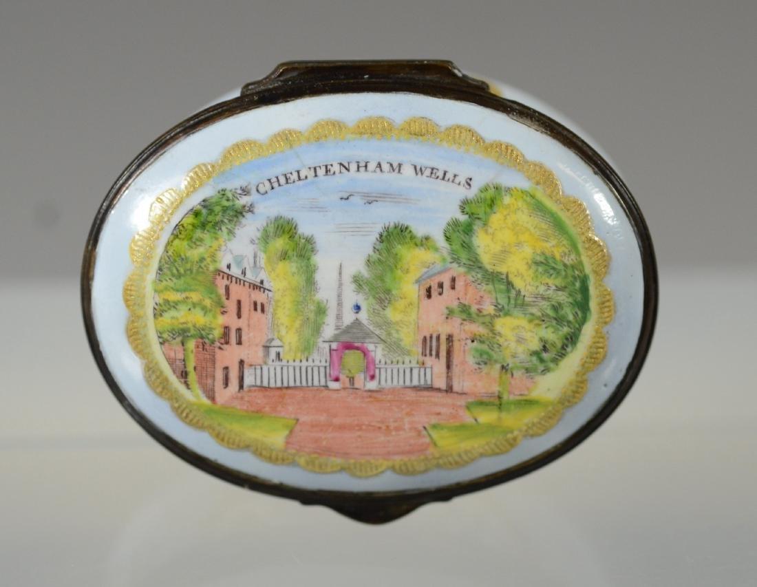 "Battersea Bilston enamel snuff box, ""Cheltenham Wells"""
