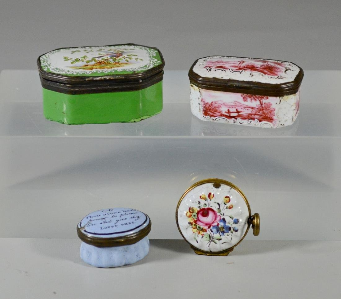 4 Battersea Bilston English enamel boxes