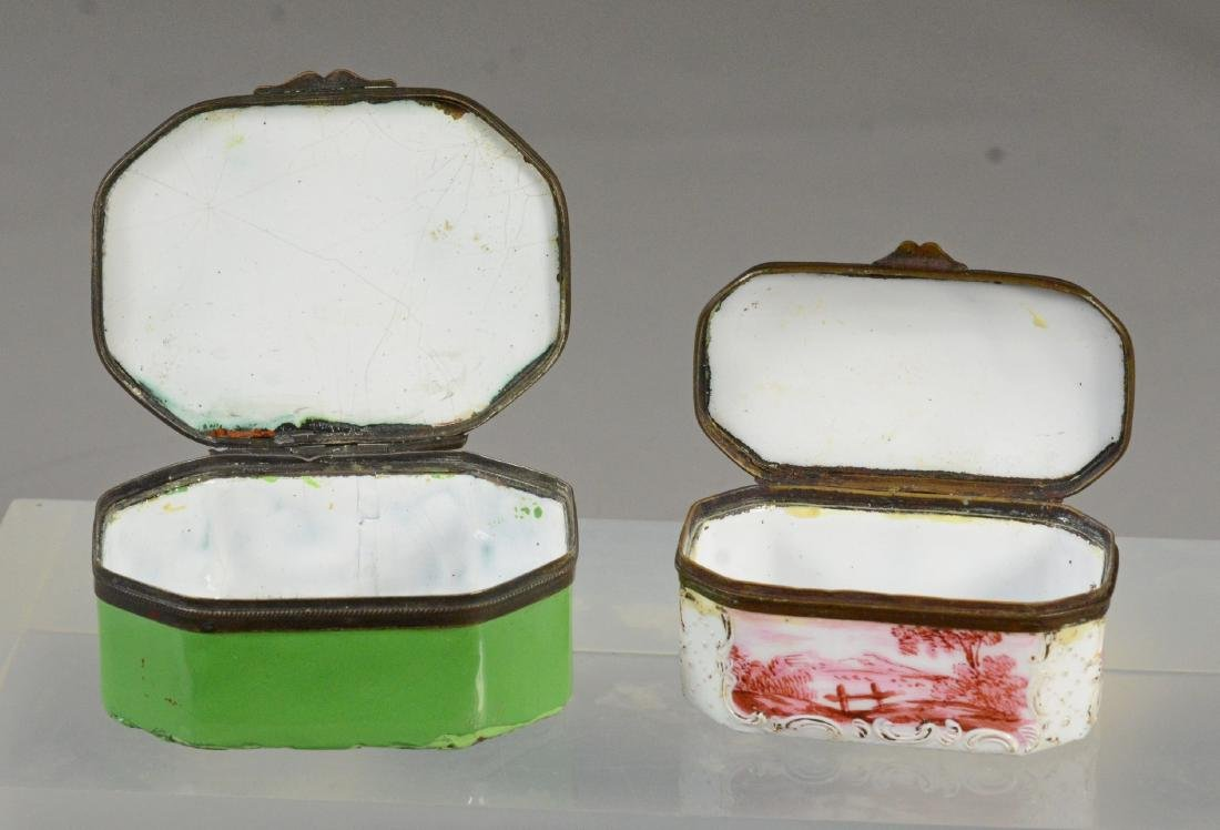 4 Battersea Bilston English enamel boxes - 6