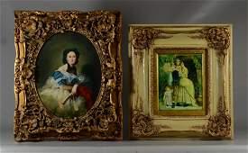 2 Contemporary oil paintings, portrait of a lady, un