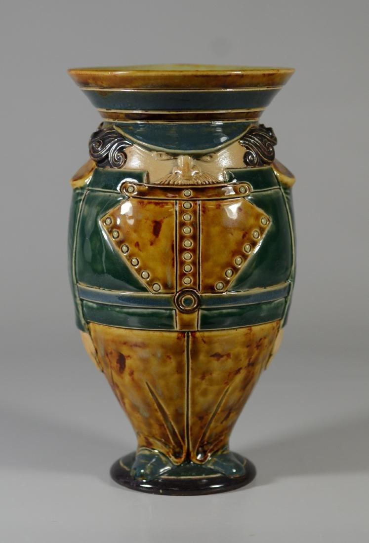 Doulton Lambeth figural stoneware pitcher