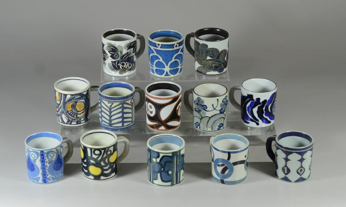 13 Royal Copenhagen faience annual mugs, 1967-1979,