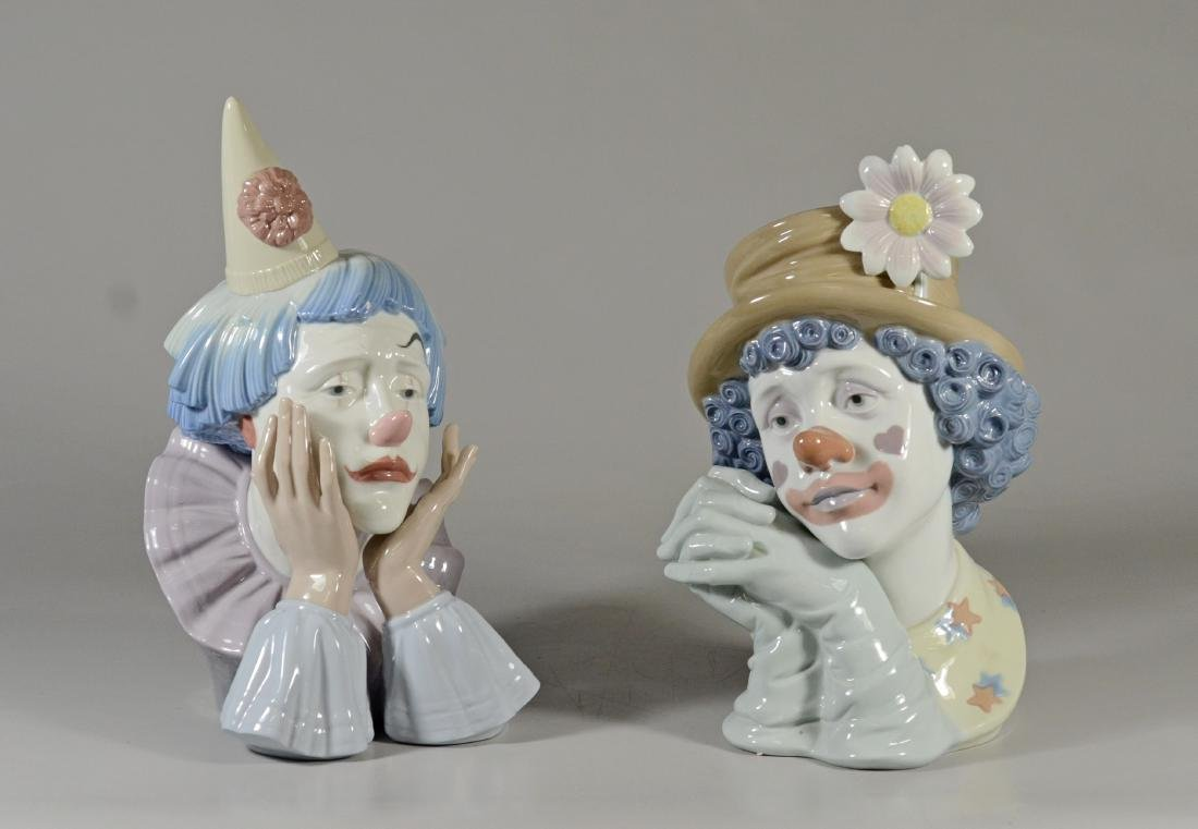 "PR of Lladro clown heads, 11-1/2"" and 12"" h, very go"