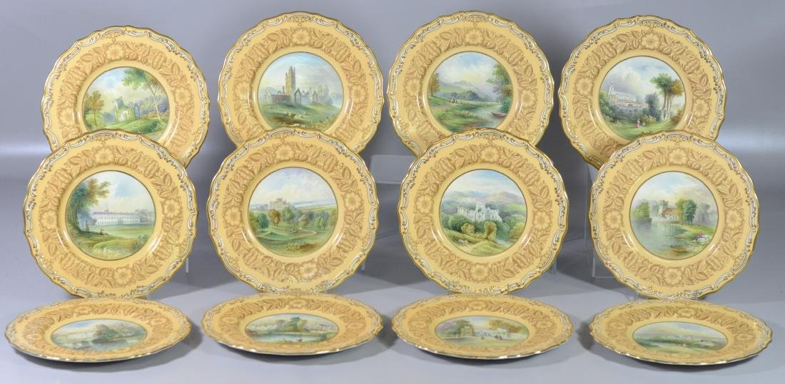 Set of 12 Copeland Spode hand painted cabinet plates