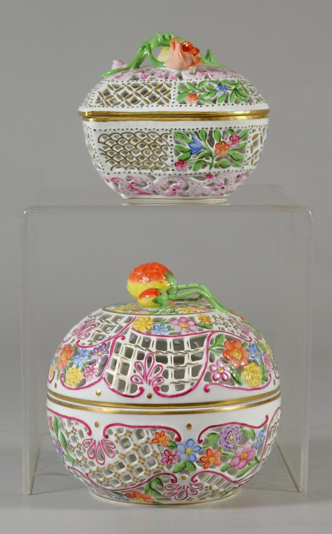 2 Herend porcelain reticulated boxes, 1 round with s