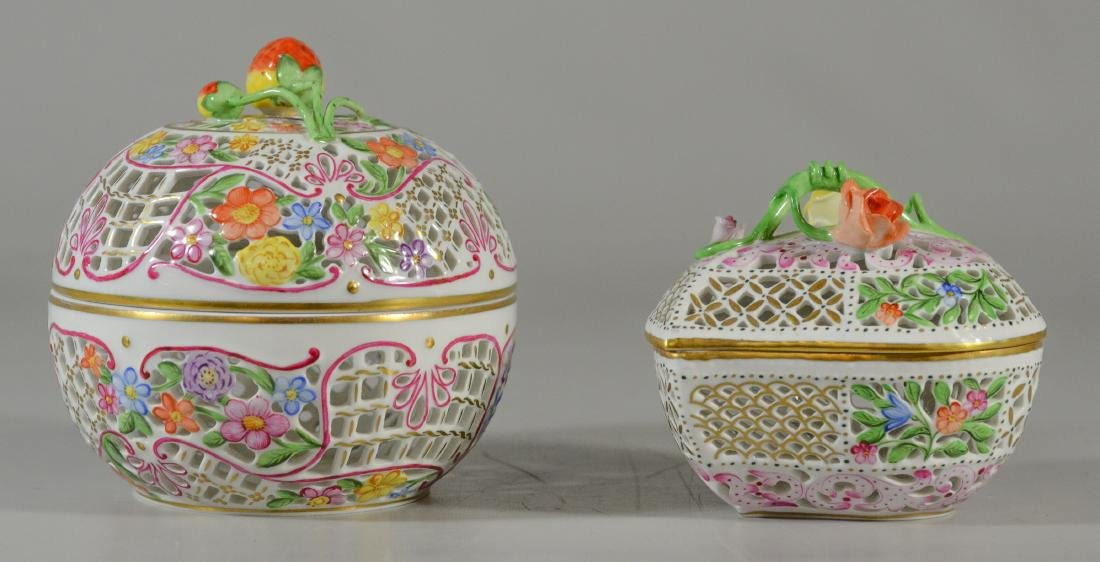 2 Herend porcelain reticulated boxes, 1 round with s - 2