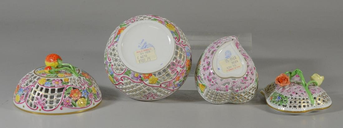 2 Herend porcelain reticulated boxes, 1 round with s - 3