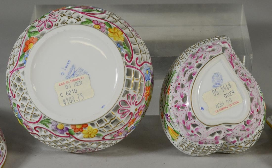 2 Herend porcelain reticulated boxes, 1 round with s - 4