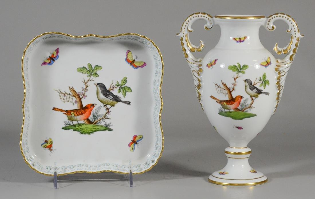2 Pieces Herend Rothschild Bird, porcelain