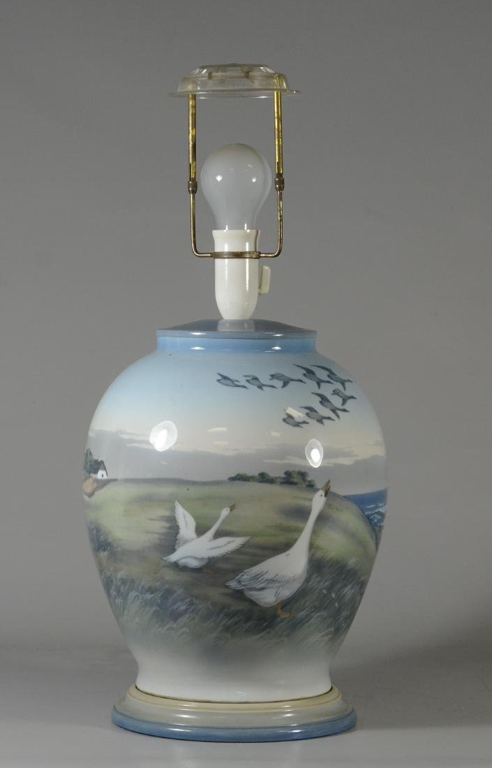 Royal Copenhagen hand painted table lamp with geese,