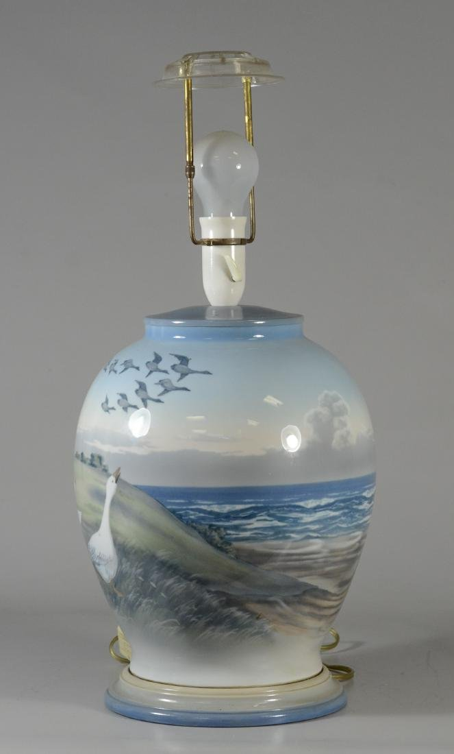 Royal Copenhagen hand painted table lamp with geese, - 2