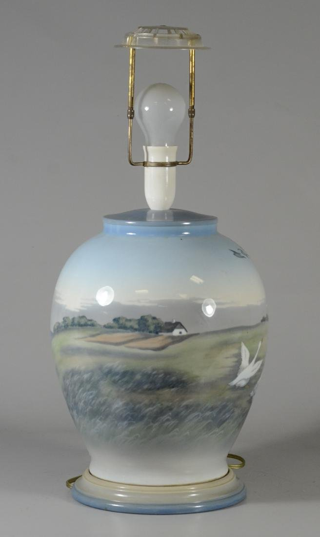 Royal Copenhagen hand painted table lamp with geese, - 4