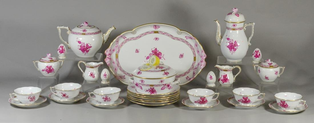 "(30) pieces Herend ""Chinese Bouquet Raspberry"""