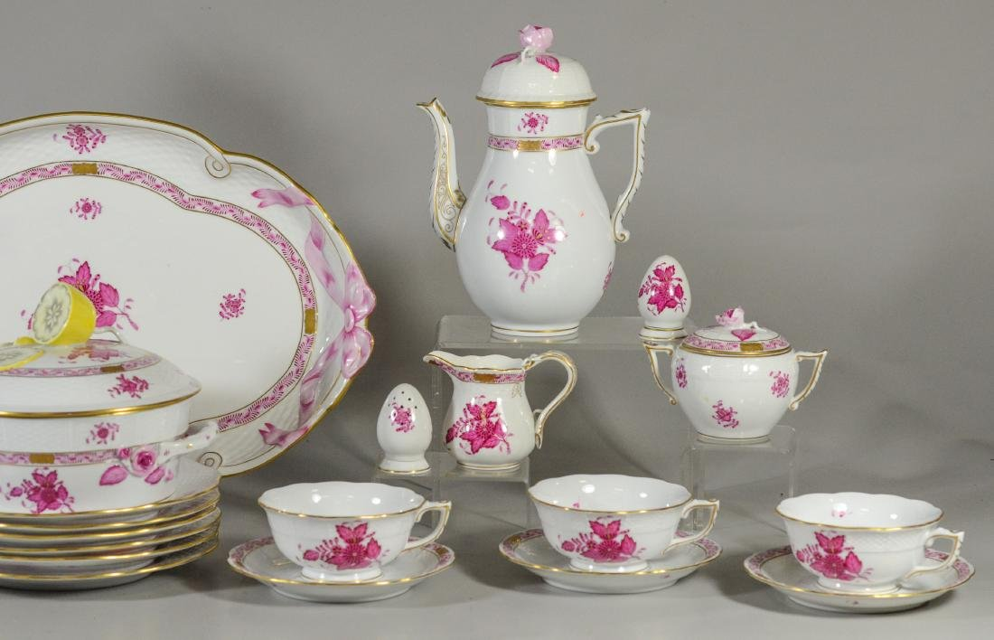 "(30) pieces Herend ""Chinese Bouquet Raspberry"" - 4"