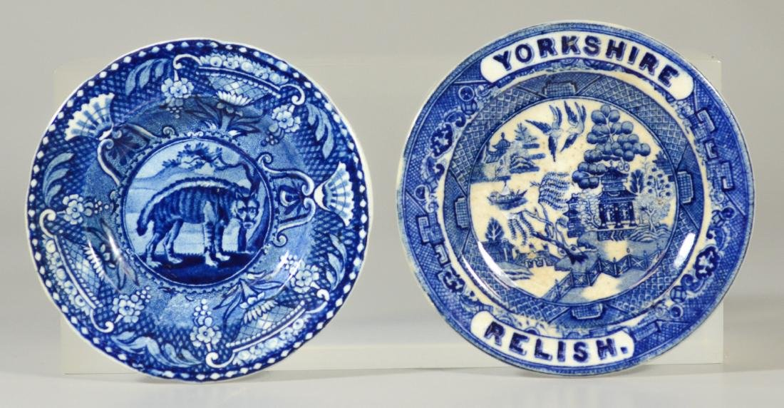 (2) Staffordshire blue transfer cup plates