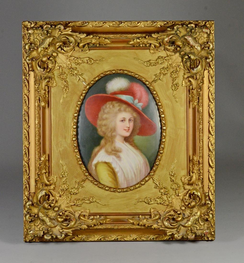 Portrait painting on porcelain plaque, German