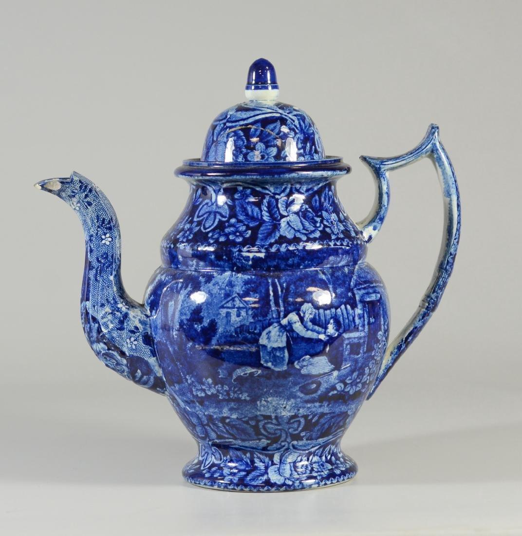 Staffordshire blue transfer coffee pot