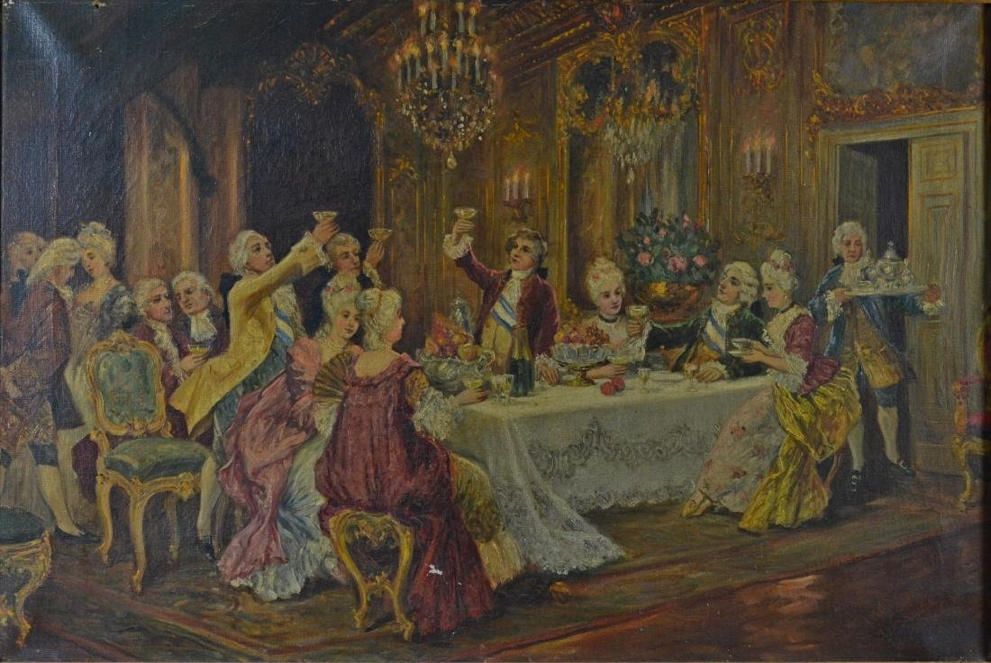 Antique Oil Painting of a French dinner scene