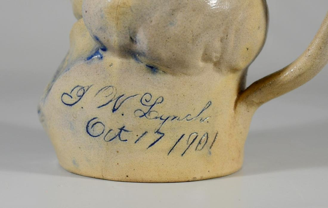 Blue decorated stoneware toby jug - 4