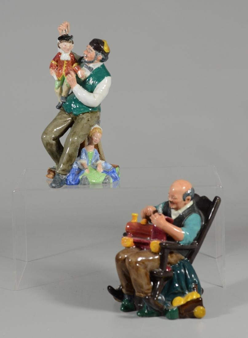 2 Royal Doulton Figurines, Toymaker, Puppet Maker