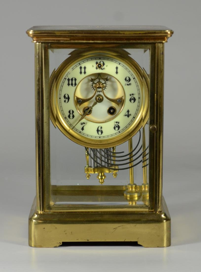 Gilbert brass and crystal regulator clock