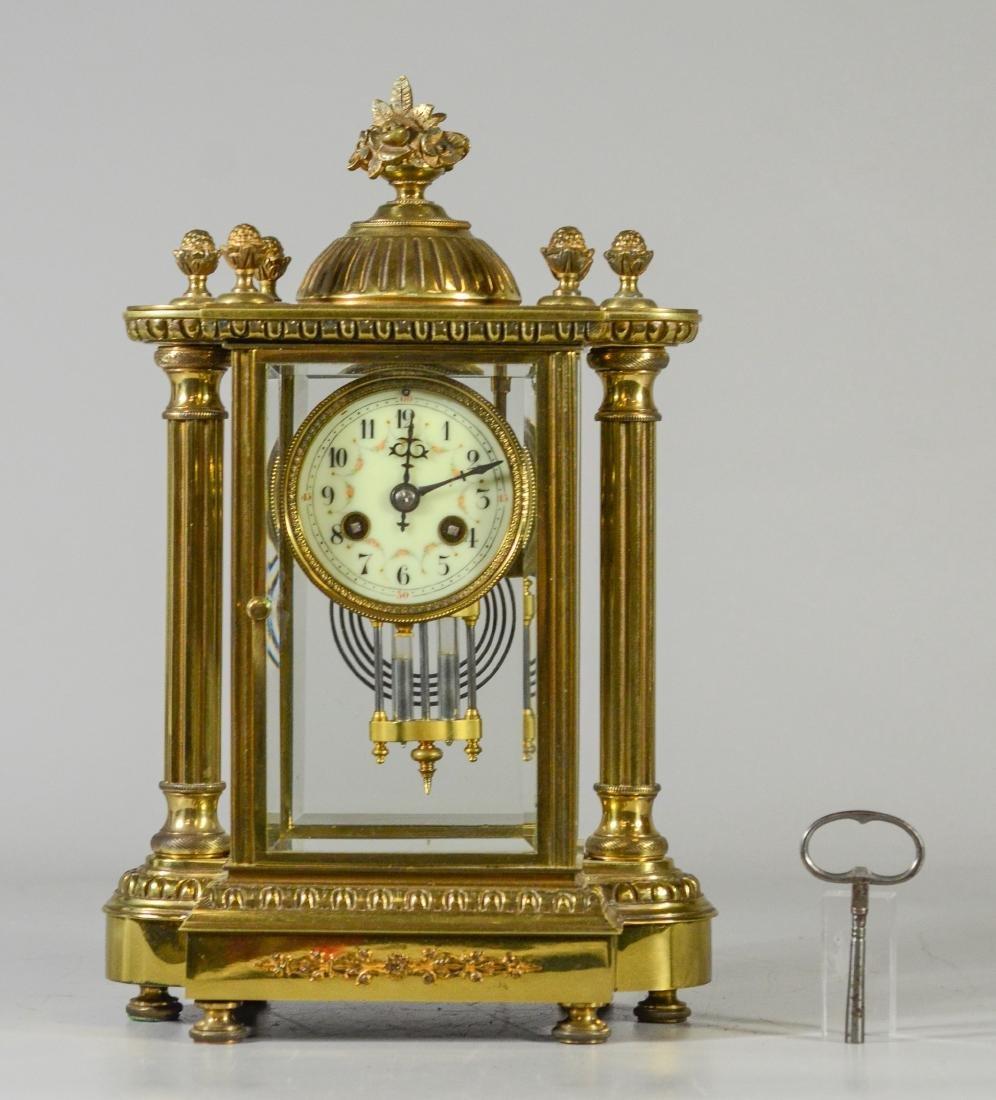 Antique French bronze crystal regulator clock