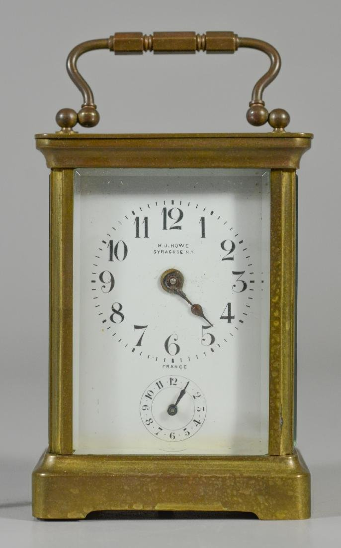 French brass carriage clock, for HJ Howe, Syracuse, - 2