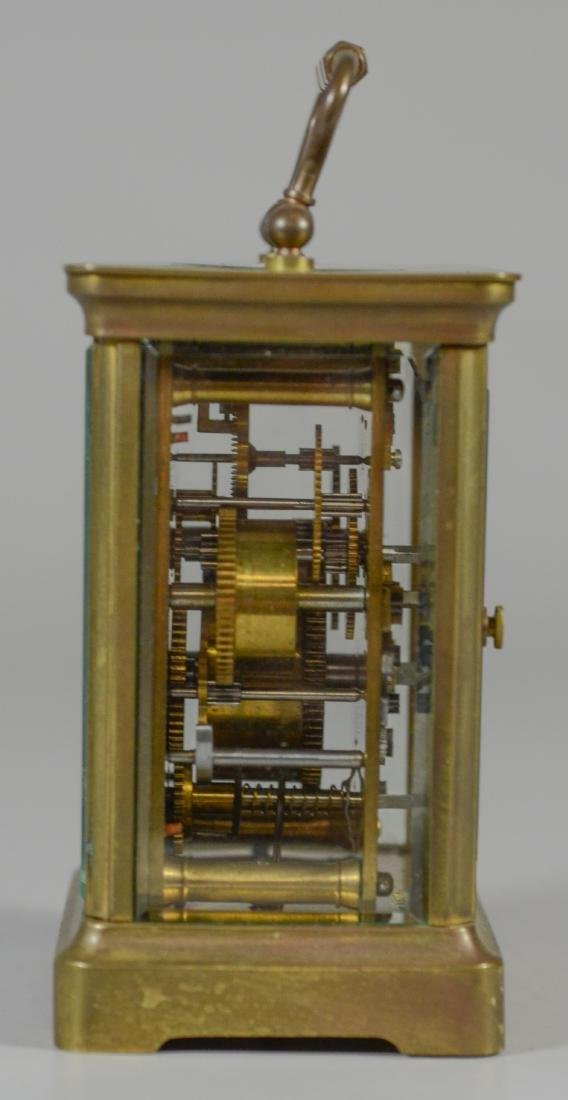 French brass carriage clock, for HJ Howe, Syracuse, - 3