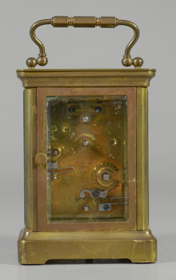 French brass carriage clock, for HJ Howe, Syracuse, - 4