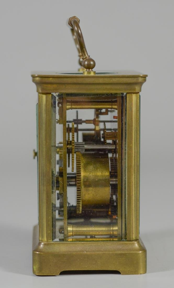 French brass carriage clock, for HJ Howe, Syracuse, - 5