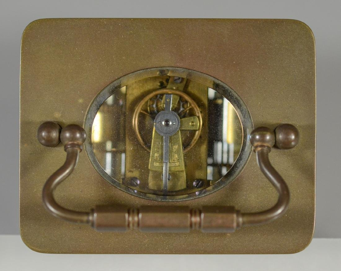 French brass carriage clock, for HJ Howe, Syracuse, - 7