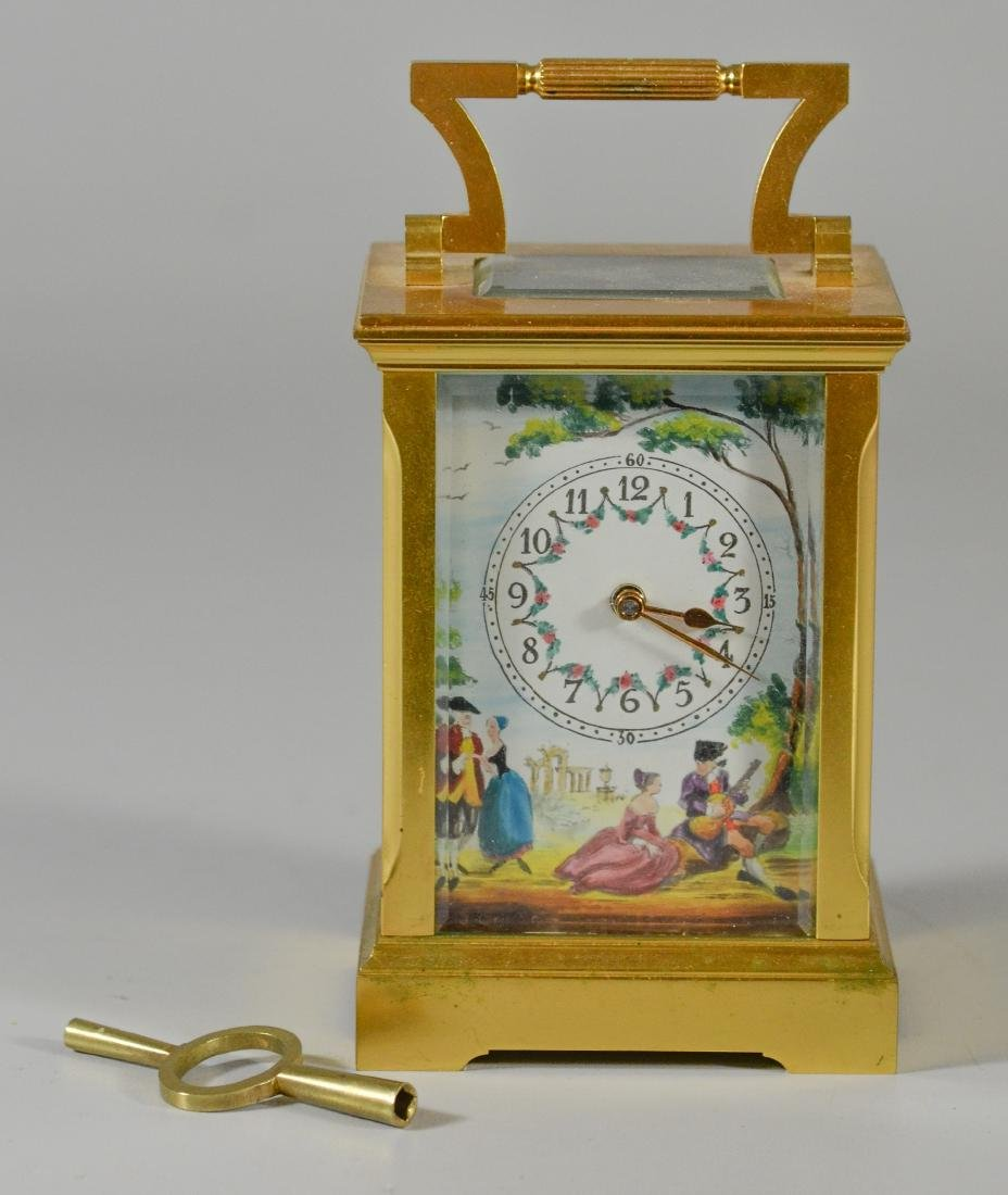 Gilt bronze English carriage clock Deacon & Son