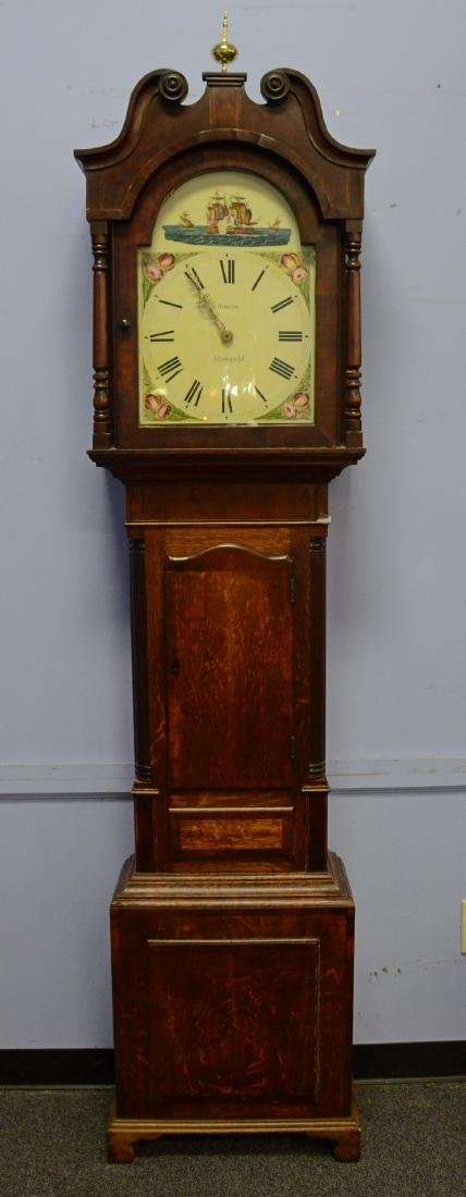 Mahogany banded oak English tall case clock