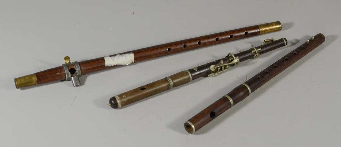 3 Antique musical instruments, 2 piccolos and a fife