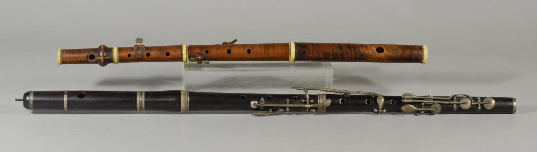 2 Antique unmarked wood flutes