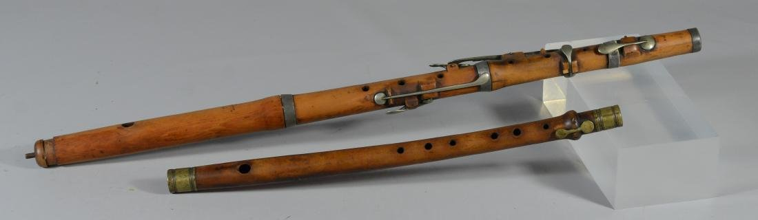 2 Antique wood flutes, CR Grimm and unmarked