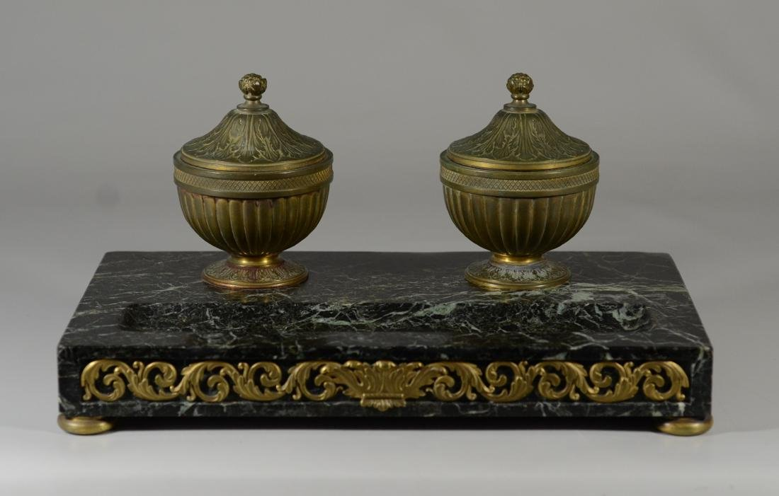 Antique French bronze and marble inkwells