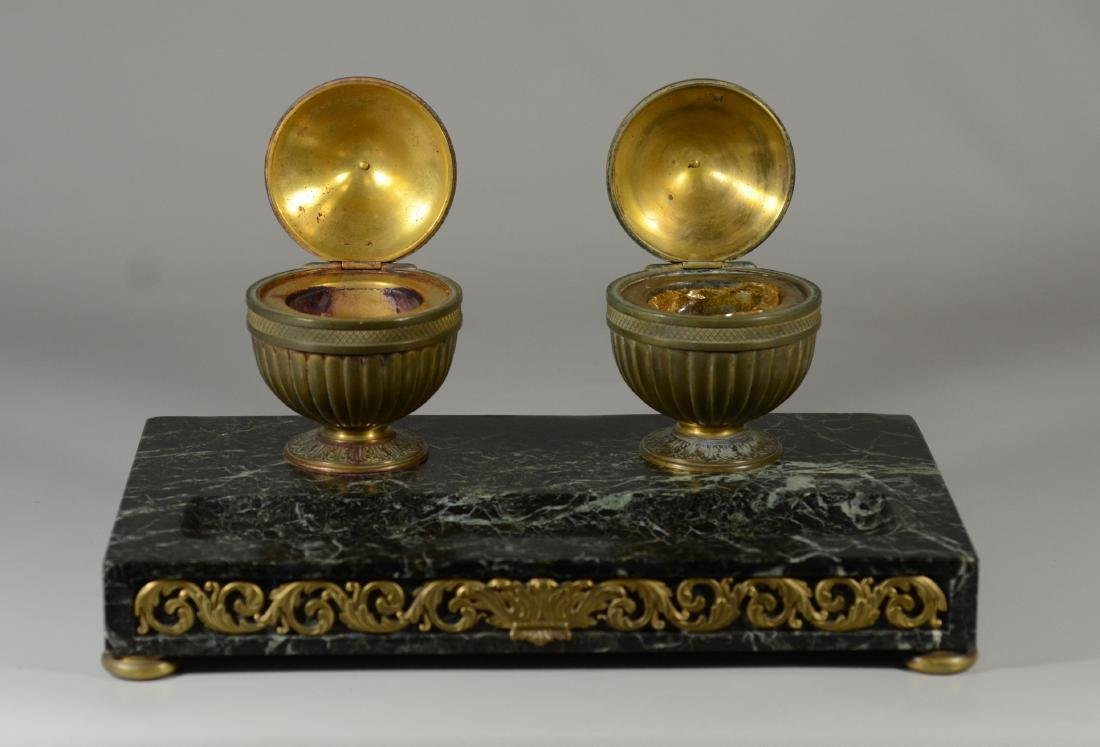 Antique French bronze and marble inkwells - 2